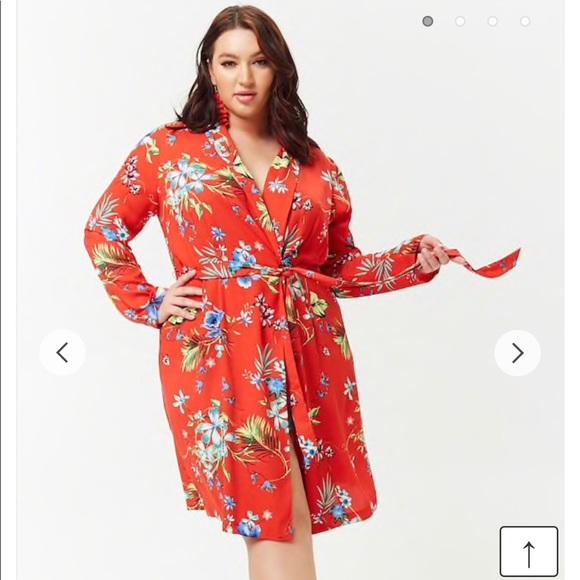Forever 21 Plus Size Kimono Wrap Cardi LS Floral NWT